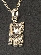 "Maneki Neko Money Lucky Cat Chinese Charm Tibetan Silver Necklace 18"" BIN"