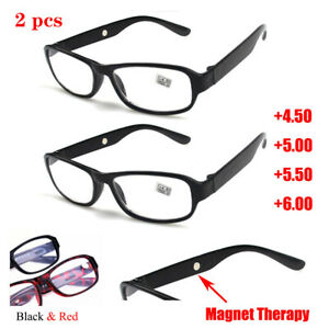 2 pcs Reading Glasses Plastic Frame Magnet Therapy Eyewear +4.50 5.00 5.50 6.00