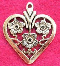 5Pcs. Tibetan Silver Large HEART w/ FLOWERS Charms Pendants Earring Drops H150