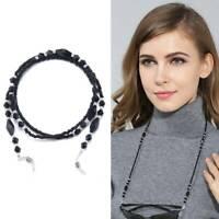 Fashion Women Eyeglass Chains Black Acrylic Beads Chains Glasses Rope Anti-slip
