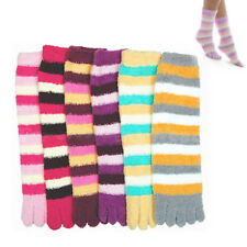 1 Pair Fuzzy Toe Socks Soft Striped Womens Thong Flip Flop Winter Warm New 9-11