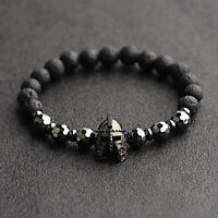 Fashion Men Women Natural Stone Black Helmet Bracelets Spartan Knight Bangle