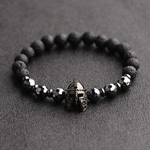 Fashion Men Women Natural Stone Black Helmet Bracelets Spartan Knight Bangle