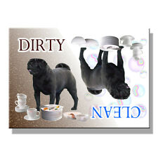 BLACK PUG Clean Dirty DISHWASHER MAGNET Must See DOG