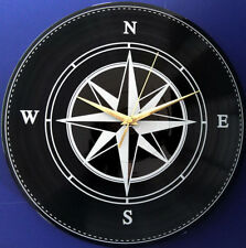 Vinyl Schallplatten-Uhr,Wanduhr, Deko,Retro,Vintage,Geschenk, Motiv: Kompass