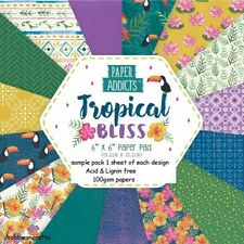TROPICAL BLISS Paper Addicts 6 x 6 Bright Sample paper Pack - 15 Sheets 100gsm