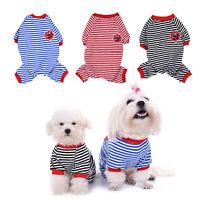 Pet Dog stripe Pajamas Warm Winter Puppy Clothes Jumpsuit Apparel Sleepwear HOT