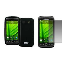 for BlackBerry Torch 9850 Case Silicone Skin Black+LCD Screen Protector Guard