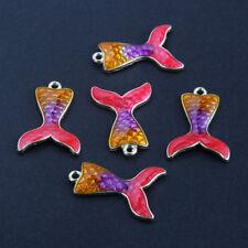 10PC Mermaid Fish Tail Enamel Charm Pendant Orange/Purple/Rose Red DIY Jewelry