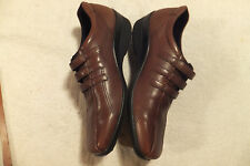 ECCO  Brown Leather Three Strap Slip On Women  Size 9.5M Never worn