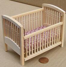1:12 Scale Drop Sided Natural Finish Cot Dolls House Nursery Accessory 129