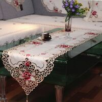 White Embroidered Lace Dining Table Runner Wedding Party Home Decor Floral
