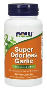 NOW Foods Super Odorless Garlic   Hawthorn Extract & Cayenne   90 Veg Capsules