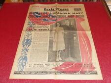 """[PRESSE WW2 APRES GUERRE] """"PARIS PRESSE"""" # 908 20 NOV 1947 Mariage ELISABETH II"""