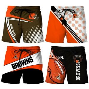 Cleveland Browns Beach Shorts Men's Casual Athletic Fit Swimwear Board Shorts