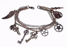 STEAMPUNK CHARM BRACELET bronze silver copper chain gear skeleton key wing O6