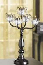 25 AVAILABLE - CRYSTAL TRIMMED CANDELABRA TEALIGHT CANDLE HOLDER CENTERPIECES