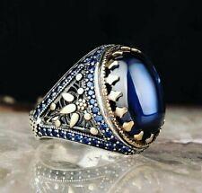 Men's Ring 925 Sterling Silver Turkish Handmade Jewelry Sapphire Stone   #TR