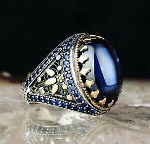 Men's Ring 925 Sterling Silver Turkish Handmade Jewelry Sapphire Stone