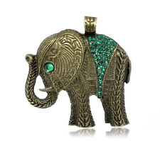 Elephant w/ Green Rhinestones Charm Pendant for Necklace