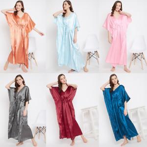 Women Plus Size Kaftan Satin Caftan Long Maxi Dress Kimono Sleeve Evening Gown