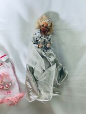 Blonde Hair Barbie with Silver Gown and Extra clothing Lot