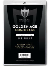 1 PACK - 100 pc MAX PRO GOLDEN AGE COMIC BOOK BAGS 7-5/8 x 10-1/2 SLEEVES