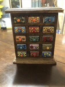 No NameWOOD APOTHECARY SPICE CABINET 15 CERAMIC DRAWERS OR JEWELRY BOX