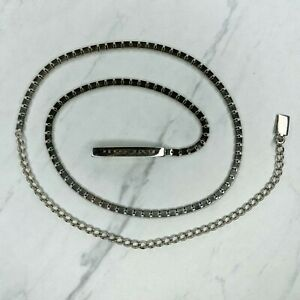 Perry Ellis Silver Tone Skinny Square Belly Body Chain Link Belt OS One Size