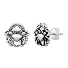 Crab Design Stud Earring Genuine Sterling Silver 925 Jewelry Gift Height 10 mm