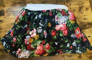 """Ralph Lauren Queen Cossette Isadora Queen Bed Skirt Black Floral Cotton 14"""" Drop"""