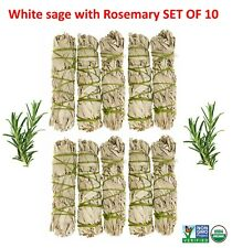 White Sage with Rosemary Smudge Stick SET OF 10 (House Cleansing)Made in USA