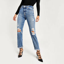 Ex River Island Blue Loose Mom Fit Ripped Jeans Size 6-14 Short Reg Long rrp £38