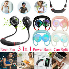 Portable USB Rechargeable Neckband Fan Neck Hanging Sport Lazy Dual Cooling Fan
