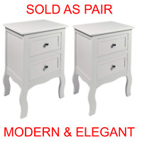 Pair White Bedroom Bedside Table Unit Cabinet Nightstand with 2 Drawers in Each