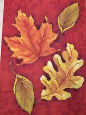 """New listing New 28"""" x 39"""" Fall Autumn Leaves Large Garden Flag Signed Jennifer Van Pelt"""
