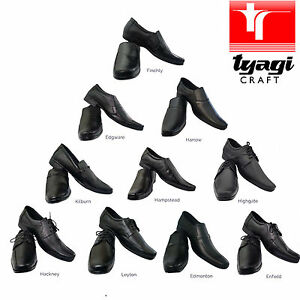 NEW Mens Black Leather Shoes Suit Smart Formal Office Work All Size Lace Slip