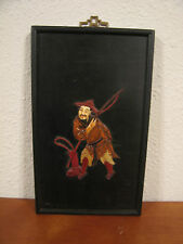 Vintage Asian Chinese Wood Wall Hanging w/ Fisherman Decoration