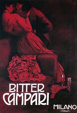 BITTER CAMPARI-MILANO ITALIA DRINK Risque A3 Stampa Artistica Poster