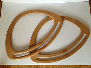 Oval Bag Handles Wood Effect 1 Pair