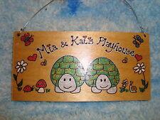 Personnalisé 2 personnage tortue turtle Tableau Run Garden Play House SIGNE Pet