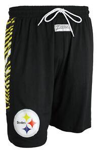Zubaz NFL Men's Pittsburgh Steelers Team Logo Zebra Side Seam Shorts, Black