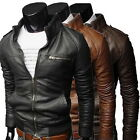 Men's Fit Motorcycle Coat PU Leather Jacket for Autumn Winter Fashion Hot ZM