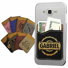 Custom Engraved Leather Credit Card ID Holder Cell Phone Case Wallet Stick On