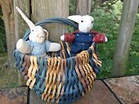 Vintage PRIMITIVE Handmade RABBIT BUNNY DOLLS Buttocks Wall Basket SET of 3 ❤️J8