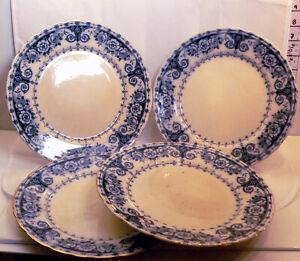 """4 x Antique T.R & Co T.Rathbone & Co Osborne Blue & White 9"""" (23cm) Plates"""
