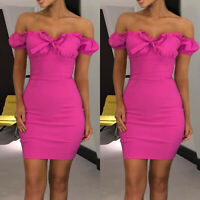 Ladies Off Shoulder Bodycon Mini Dress Bardot Bowknot Puff Sleeve Party Dresses