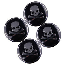 4x Car SUV 56mm Metal Cross Bone Skull Logo Emblem Sticker Wheel Center Hub Caps