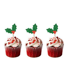 Christmas Holly Cupcake Toppers - Pack of 8 - Glittery Green -Glittery Xmas Cake