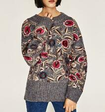 Women vintage flower embroidery sweaters sleeve o neck black pullovers jumper